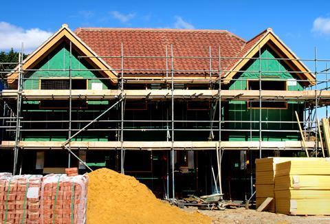 Construction building site, new house