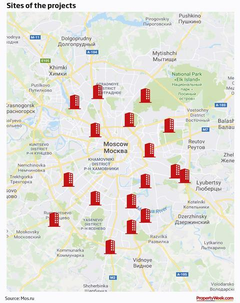 Map – sites of the projects