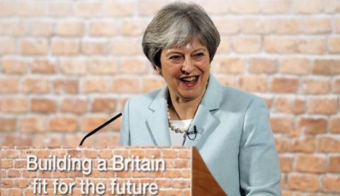 Theresa may fake brick wall