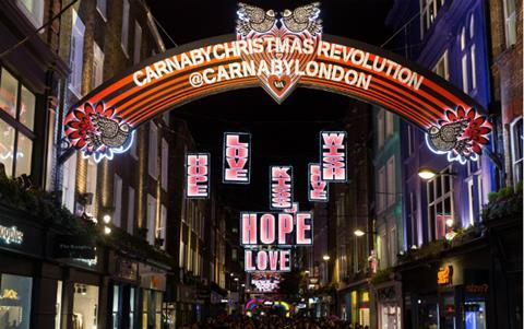 Carnaby St Christmas lights Shaftesbury 636