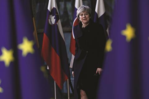 May with EU Flags