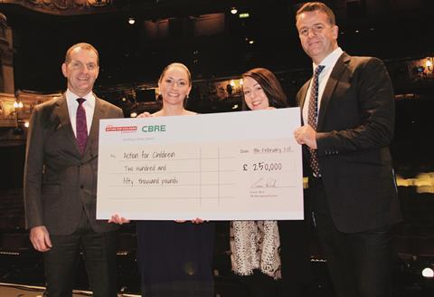 Steve timbs cbre, mary o'hagan and victoria parry from action for children and ciaran bird, cbre
